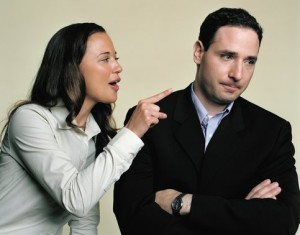 Woman scolding man