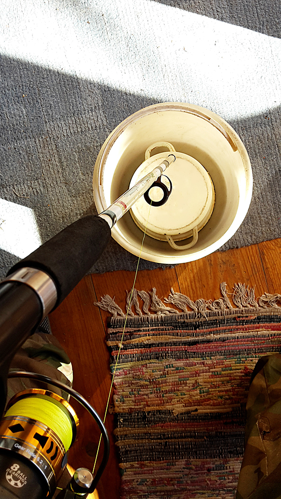 Сматывание лески с бобины на катушку