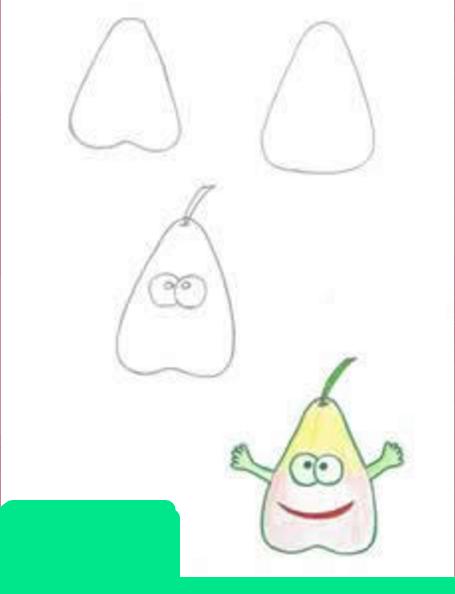 как нарисовать грушу для рисунка о здоровой жизни
