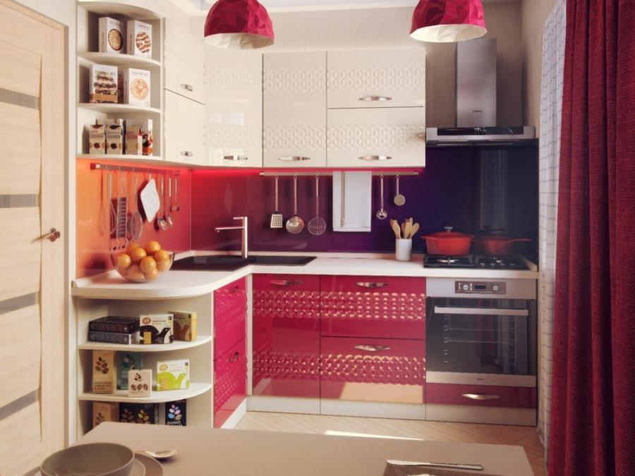 Мебель красных тонов в угловой кухне