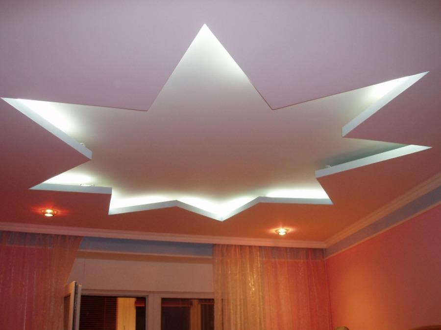 Дизайн потолка из гипсокартона ограничивается только высотой комнаты и фантазией  мастера.