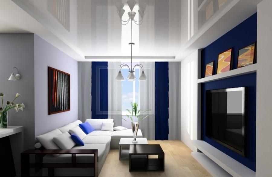 Какими могут быть натяжные потолки в гостиной