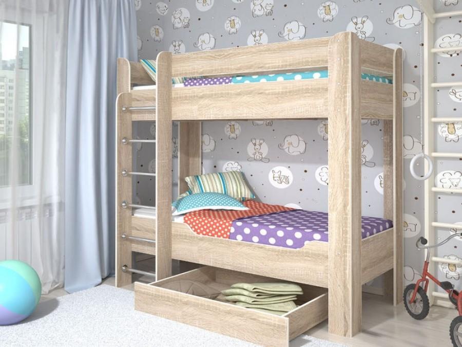 Двухъярусная кровать  у стены - традиционные решения для небольшой квартиры.