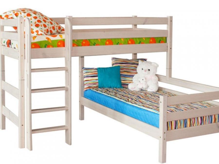 Современная двухъярусная кровать может быть угловой.