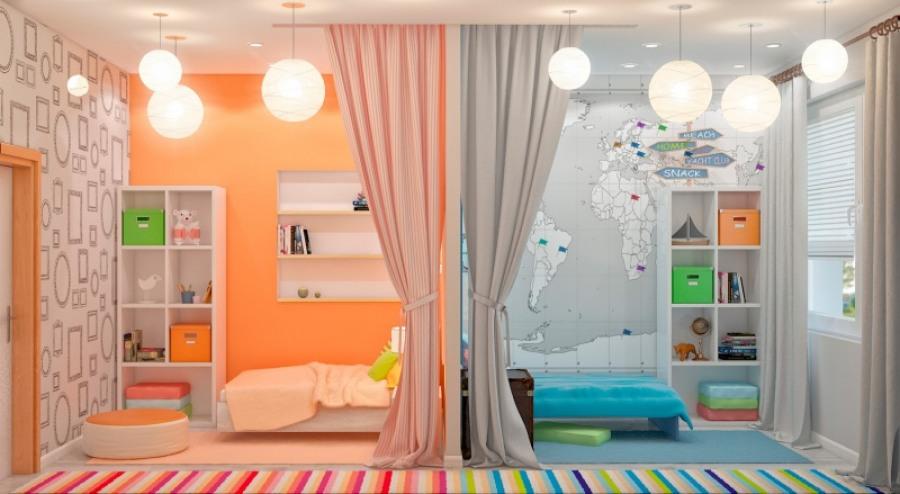 Интерьер комнат для разнополых детей