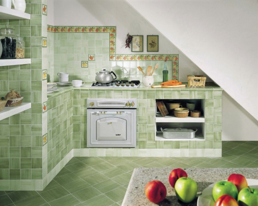 Отделка кухня пола с плиткой