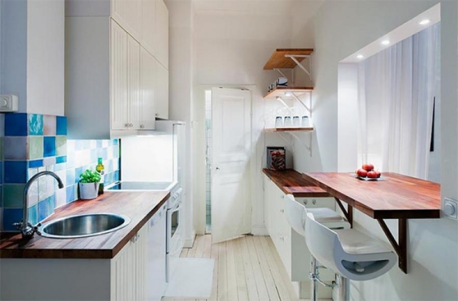 Дизайн кухни - стойка барная и даже окно раздачи
