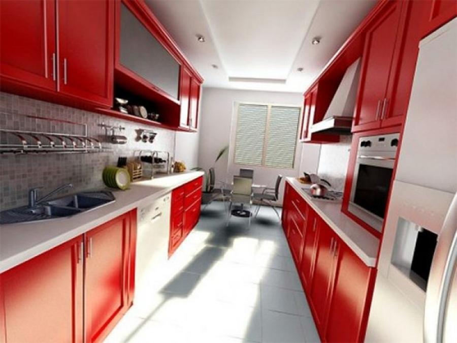 Двухрядная планировка - небольшая кухня