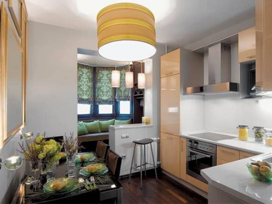 Маленькая кухня может совмещаться с комнатой
