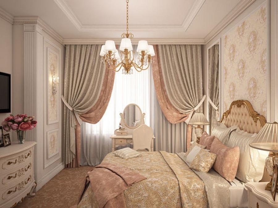 Оформление спальни красивыми шторами