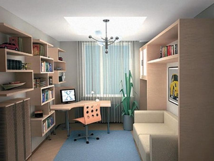 Комната 12 м с делением на зоны - дизайнерское решение
