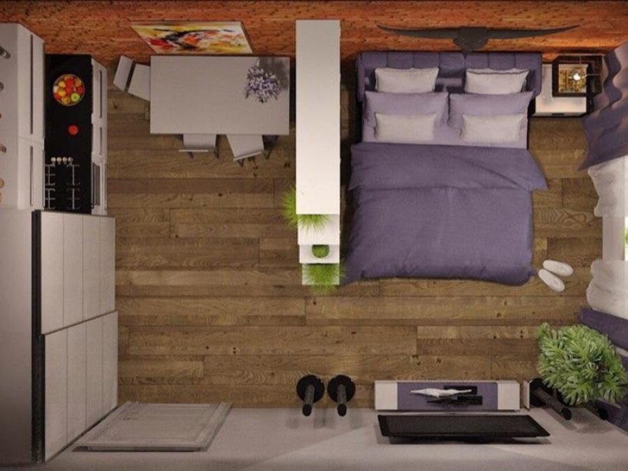 Дизайн-проект комнаты для молодой семьи в общежитии - план