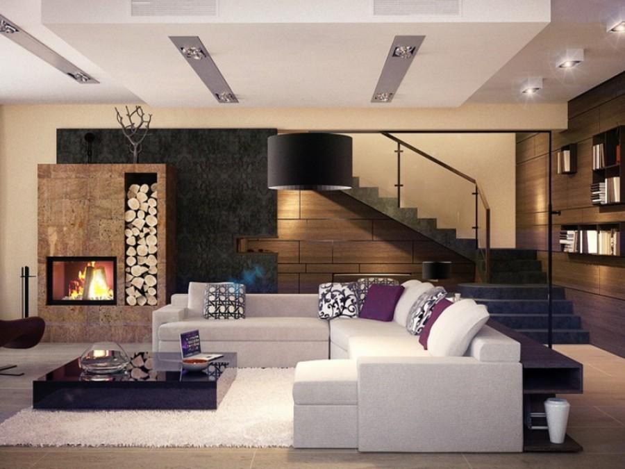 Дизайн интерьера гостиной в доме с камином и лестницей на второй этаж.