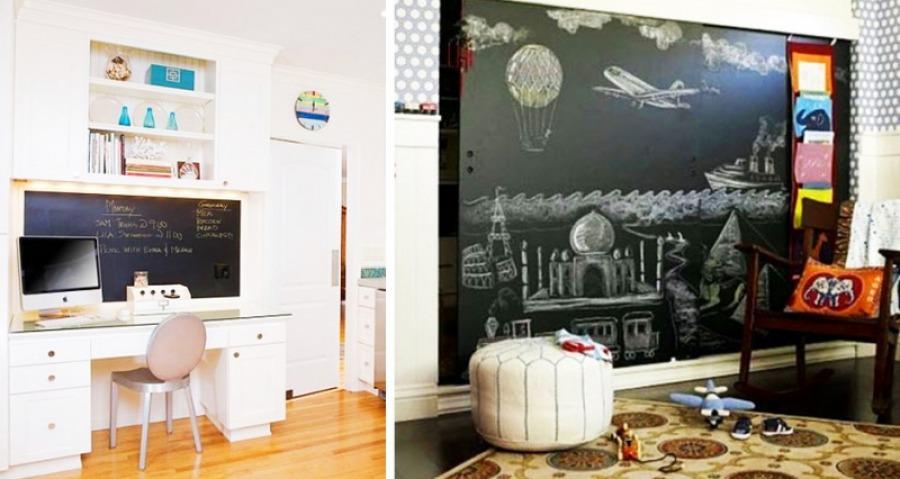 В комнате можно повесить доску для рисования мелом, детям это нравится.