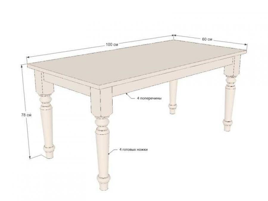 Чертеж обеденного стола - особенности и размеры.