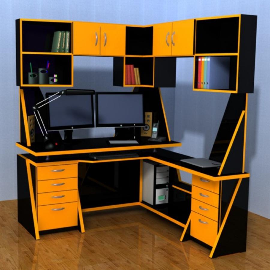 Качественный компьютерный стол со стеллажами  для хранения документов и дисков.