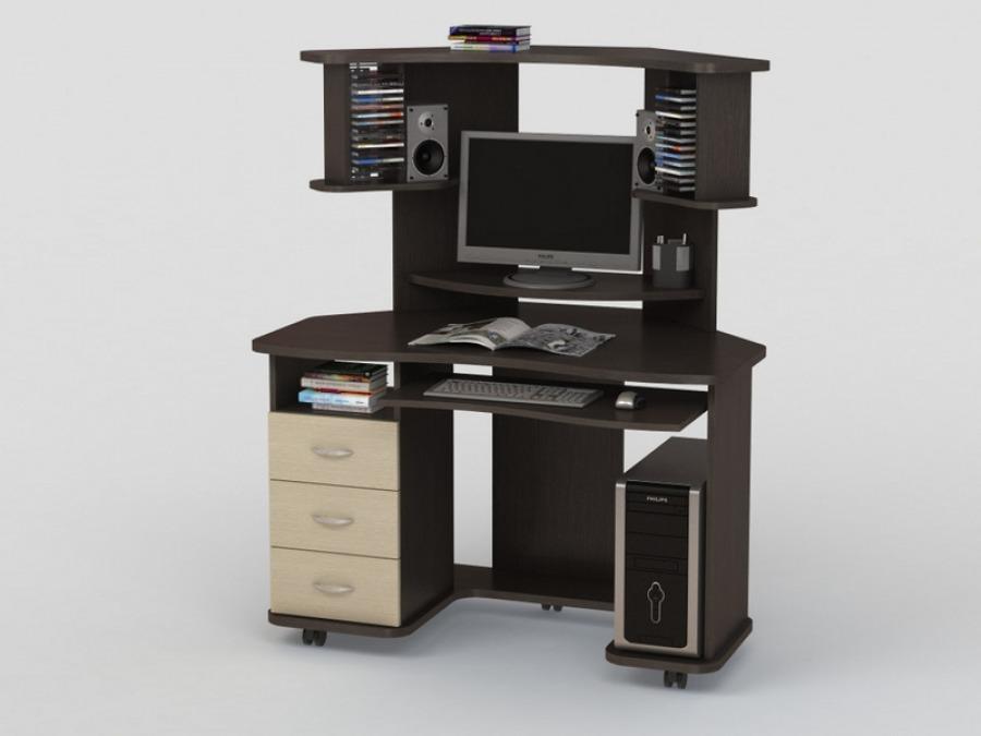 Небольшой компьютерный стол позволяет удобно организовать рабочее место даже при минимальной площади.