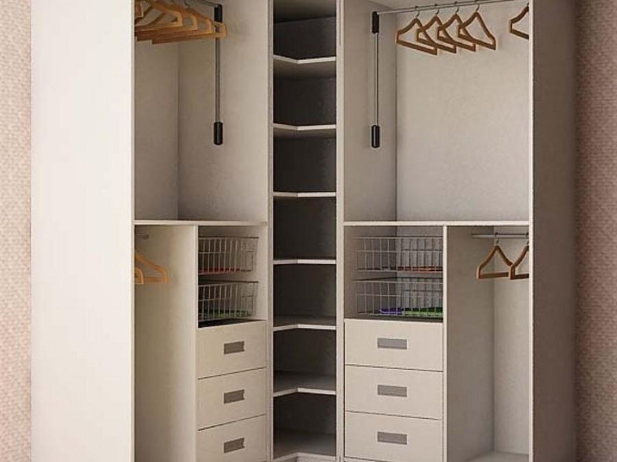 Шкаф купе угловой - светлые тона, привлекательный дизайн