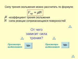 Формула силы трения