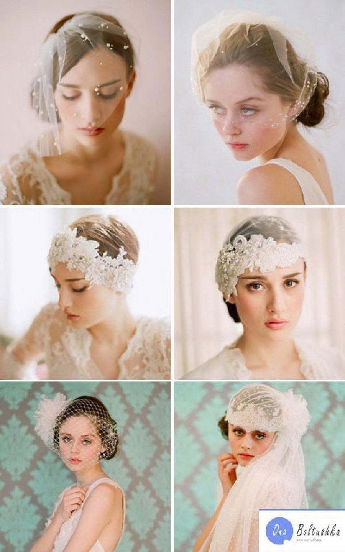 Свадебные прически на короткие волосы с аксессуарами фото