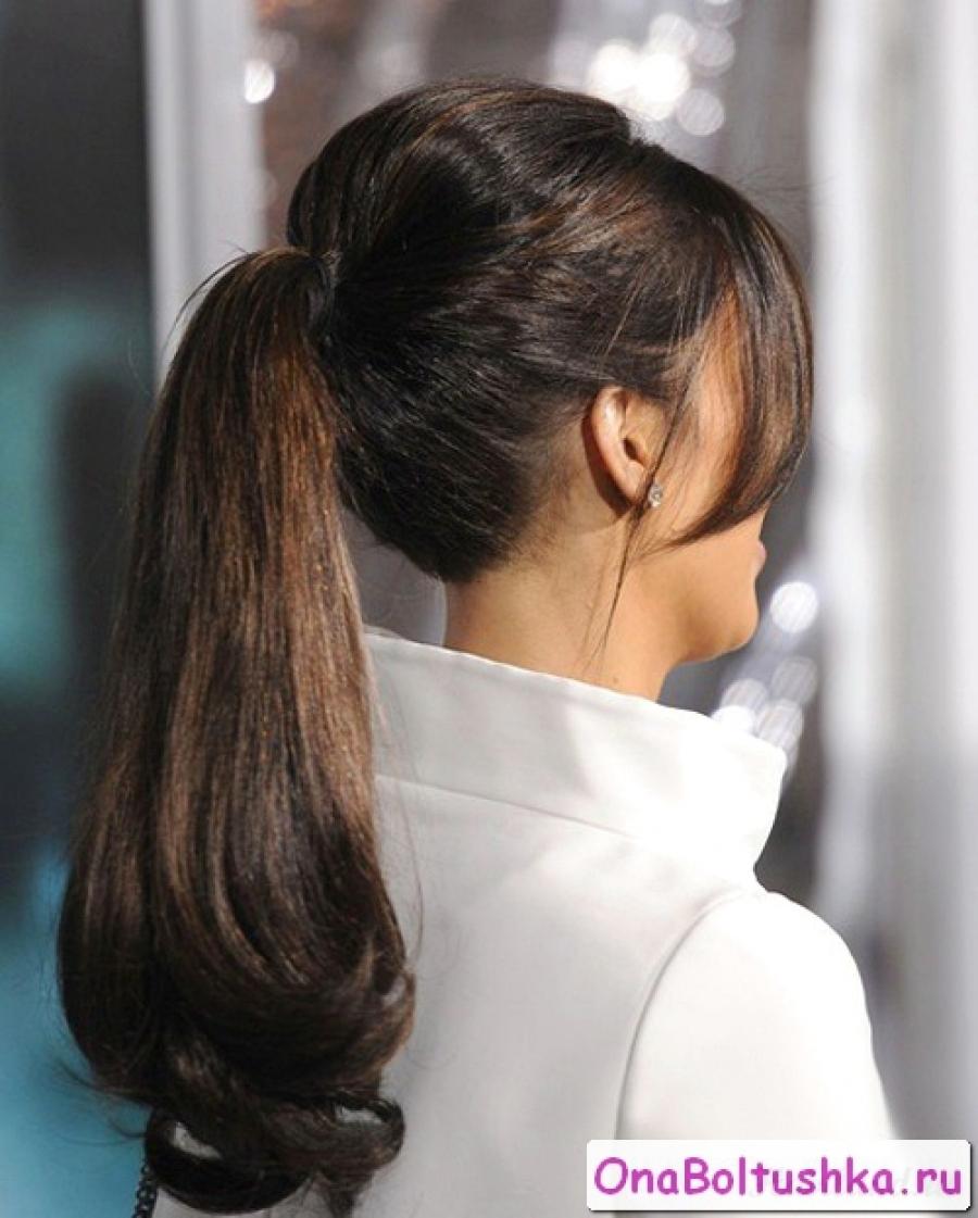 Ким Кардашян прическа хвост