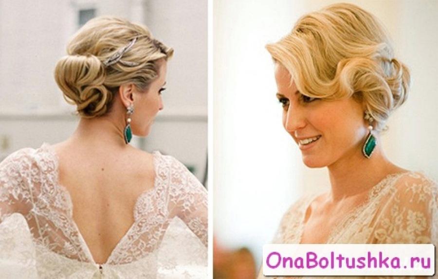Прически для средних волос на свадьбу